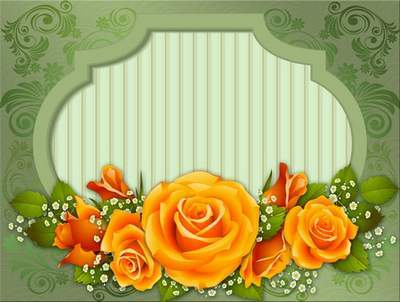 PSD source - Greeting Cards-frame with roses