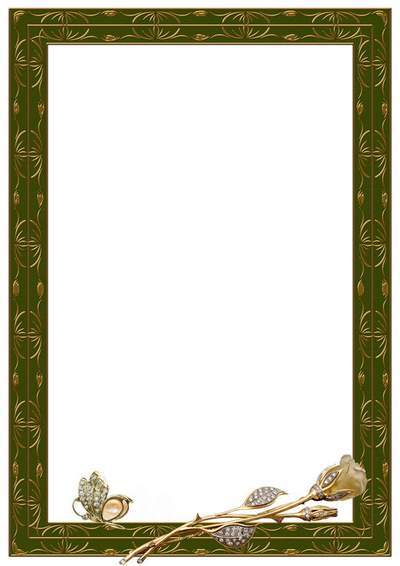 Photo frame - Gold Butterfly and Rose