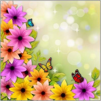 Multi-layered PSD source with flowers and butterflies for design in Photoshop