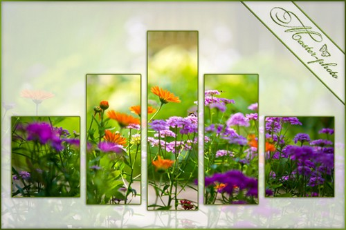 The polyptych for photoshop - bouquet of field flowers
