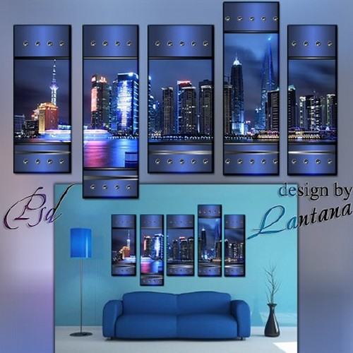 Polyptych in PSD - Evening city dreams silence