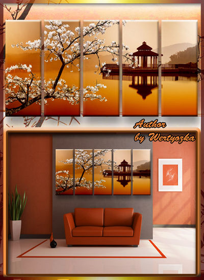 Polyptych in psd format - Sakura, Chinese house on the water