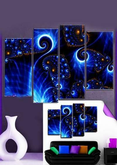 PSD source polyptych - Abstract, glowing bright elements of abstraction