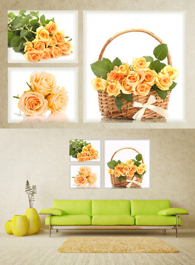 Polyptych in psd format - Tea roses, basket with roses, bouquet of roses, flowers