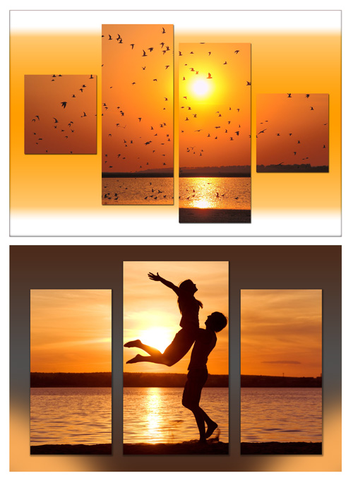 Triptych and polyptych in psd format - Charming sea sunset, couple in love on sunset sea background