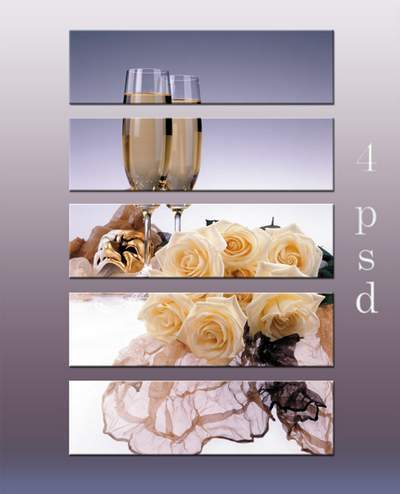 Diptychs, triptychs and polyptych - still life, composition, wine, wine glasses, flowers