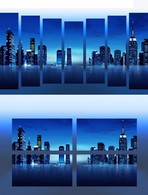Polyptych in psd format - City at night, the lights of the big city