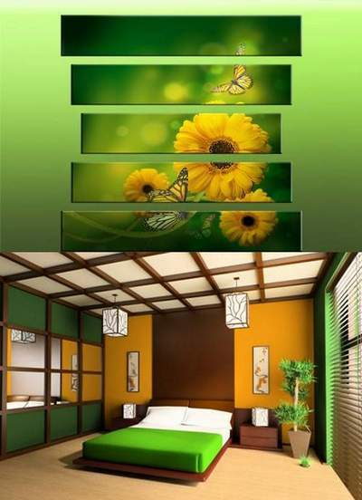 Polyptych in psd format - Yellow flowers and butterflies on a green background