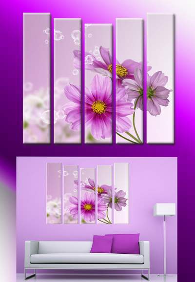 Polyptych in psd format - Painting with flowers, purple flowers