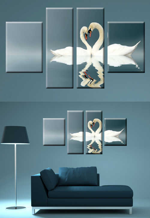 Polyptych in psd format - white swans, a pair of swans