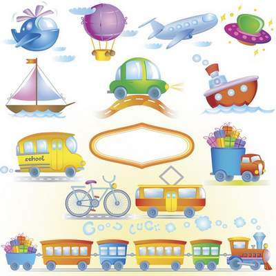 Children Toys Clip Art PSD - Children's transport layered PSD file