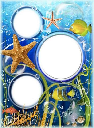 Children frame for 3 photos - Deep ocean and its inhabitants