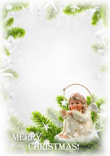 Set of psd greeting photo frameworks - Happy and Merry Christmas