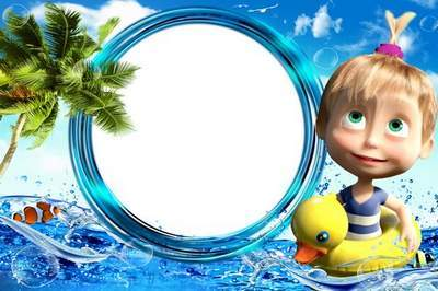 Children's sea frame for a photoshop with Masha