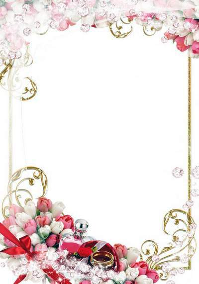 Wedding frame with rings, a beautiful bouquet and golden ornaments - Oh, this wedding