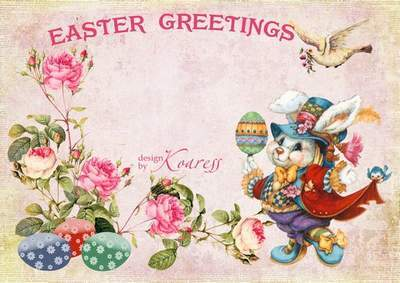 Vintage Happy Easter frame with rabbit - Happy Easter day