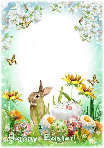Spring photo framework with rabbit, eggs, easter cake - This Easter is a magic day