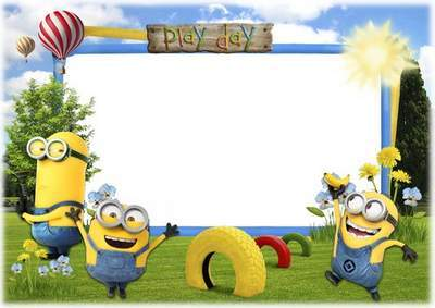 Play Day with the Minions - Photoshop frame for baby photos