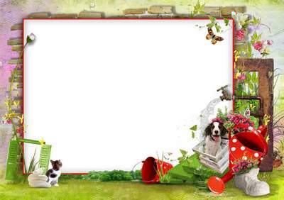 Spring frame for photo farmer - gardener, layered PSD Template + 3 Frame PNG (different backgrounds)