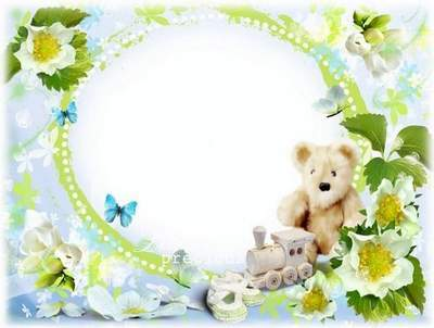 Free PSD frame for babies girls and boys - pink or blue butterflies, flowers , background