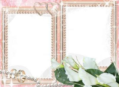 Wedding photo frame with flowers with the Calla lilies and pearls
