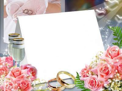 Wedding frame for photoshop – Pink roses