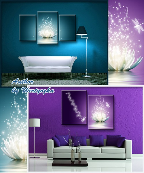 Triptychs, diptychs in psd format, modular paintings - lilies, white lilies