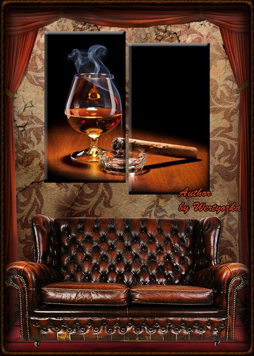 Diptych in psd format - glass, brandy, sigarf