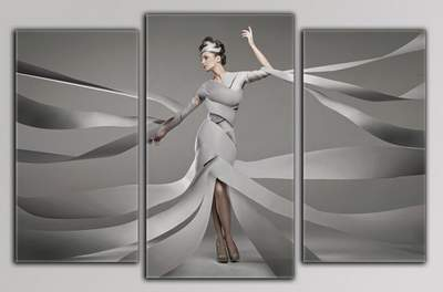 Triptychs in psd format - Fantastic girls, fantasy, pretty girls