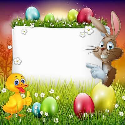 Easter Frame layered Psd template with rabbit and duck for baby photos