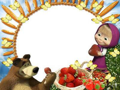 Children frame for photo - Masha and the Bear - my good friends