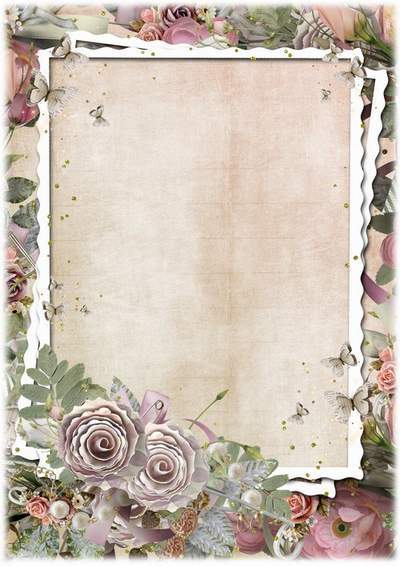 Flower frame for photo - Vintage roses