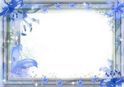 Blue frame template PSD file with blue flowers