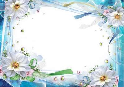 Blue frame template PSD file with white flowers