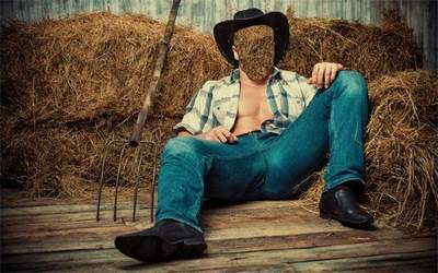 Photoshop template psd file for men - Cowboy and hay