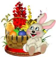 A selection of clip art for Easter png images - Easter basket with eggs