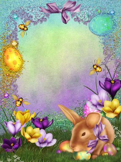 Beautiful Easter Photoshop frame psd template with bunny and flowers