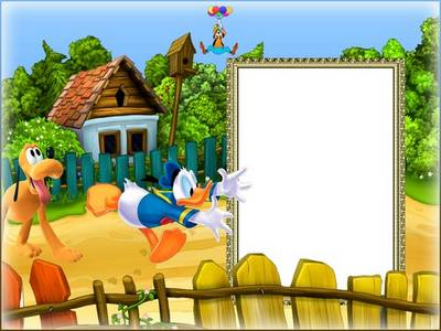 Сhildren photo frame psd with cartoon characters