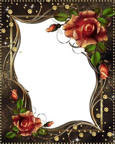 Flower frame - Autumn Splendor roses and glitter