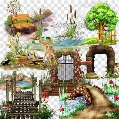 Clipart png elements - 22 PNG Clusters on a transparent background to create collages and backgrounds