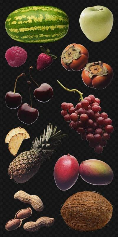 PNG images Fruits, berries and nuts -  47 PNG files, transparent background, download