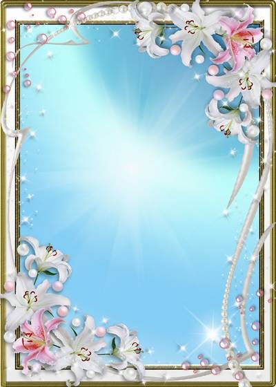 Floral frame for a photo - Charming and tender white lilies