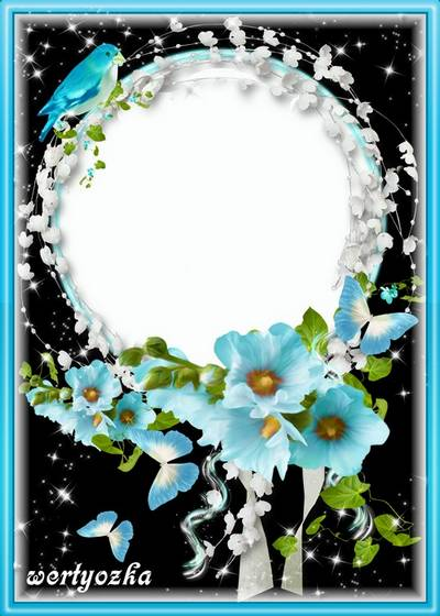 Floral frame for a photo - Charming blue flowers
