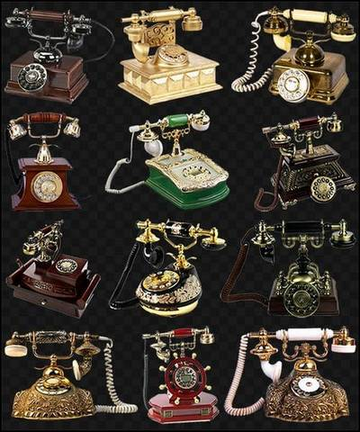 Clip art PNG Images Old Phones - 135 PNG files Retro Phones