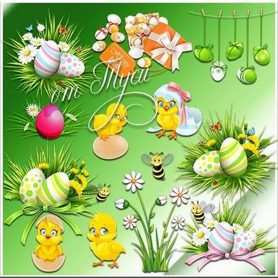 High-quality clipart on the Easter theme-Chickens, eggs, willow, baskets