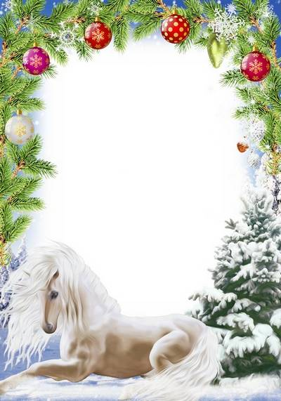 Christmas frame for photo - With a White Horse