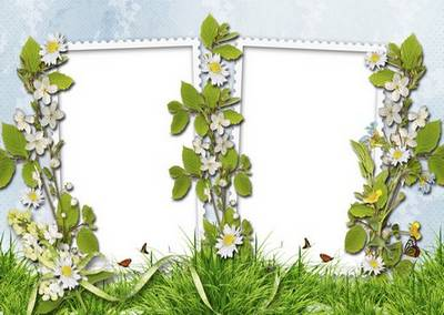 Frames for photos with spring flowers on two cuts - Beautiful Spring