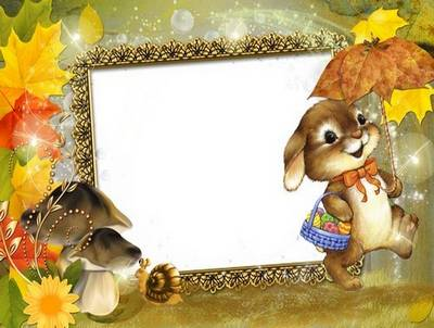 Children Autumn frame free download - Autumn rabbit