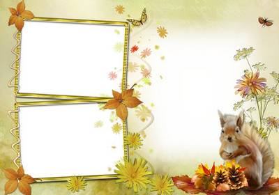 Two autumn frame for photoshop - Autumn bouquet and squirrel