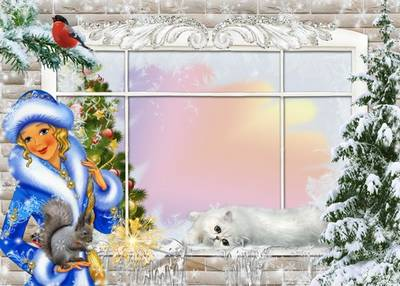 Two winter-Christmas frame - Frosty window